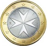 1 euro (other side, country Malta) 1
